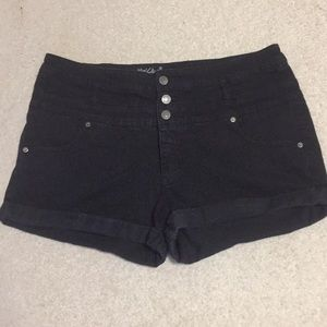 Black faded high waisted shorts